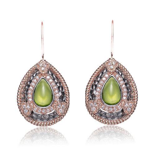 Estate Design Rose/Black Style Earrings CSE-EAR9201