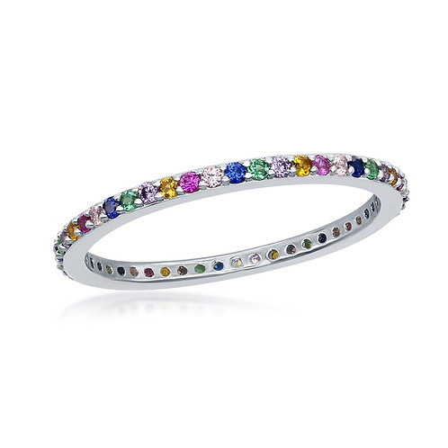 Sterling Silver Rainbow Thin Eternity Band Ring CL-W-2133