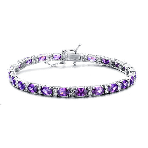 Rhodium Plated Sterling Silver Amethyst Style Bracelet CB-BR2026-L-A-RP