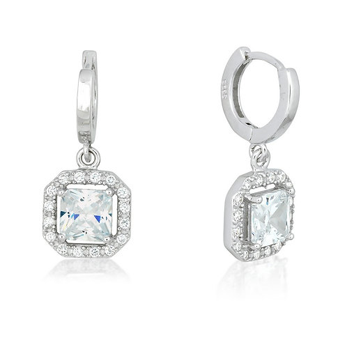 Sterling Silver Square Dangling Clear Micro Pave Earrings CL-D-5245