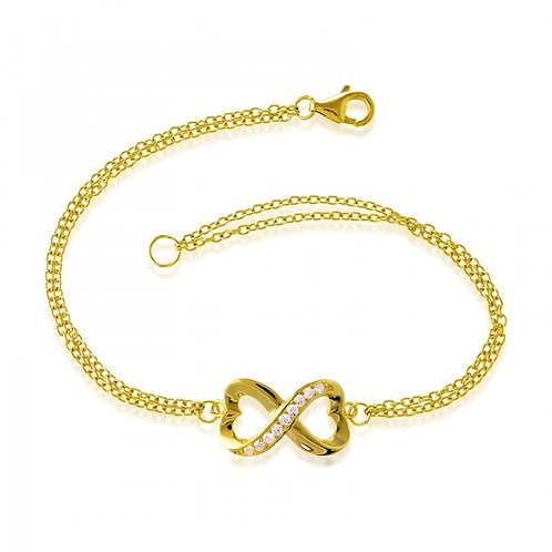 Gold Toned Infinity Style Bracelet CSB-T-6945