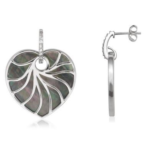 Sterling Silver Large Abalone MOP Heart with Earrings CSE-D-5318