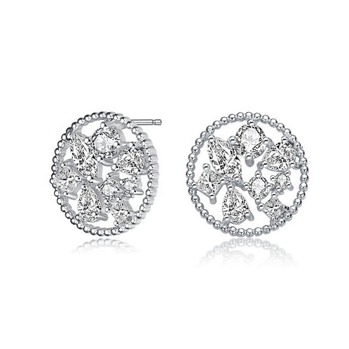 Sterling Silver with Rhodium Plated Ball Multi Shape TCE-EAR0420