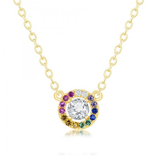 Sterling Silver Gold Plated Rainbow Circle Necklace CSN-M-6177-GP