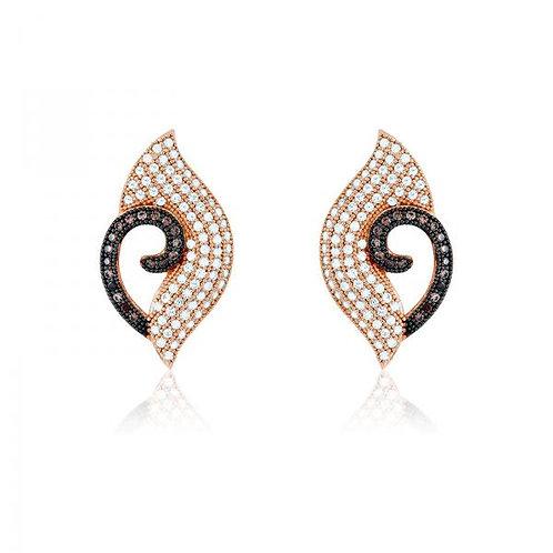 MICRO PAVE EARRINGS Rose/Brown Stones D-4351