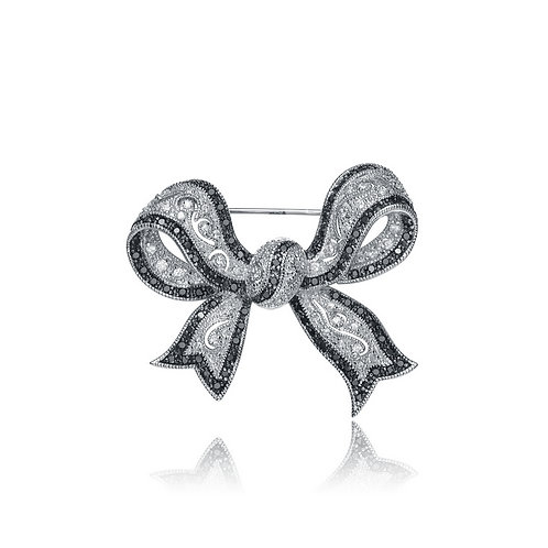 Sterling Silver Rhodium Plated Black and White Bow Pin PIN132
