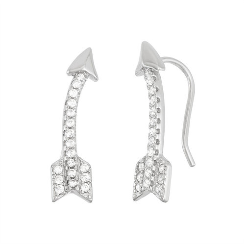 Sterling Silver Curved Arrow Climber Earrings CL-D-5961