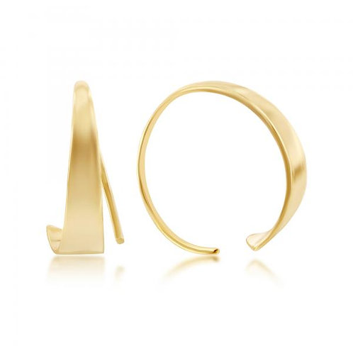 Sterling Silver Gold Plated Flat Bar Half Hoop Earrings CSE-A-2522-GP