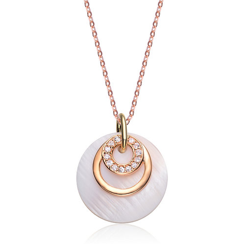Sterling Silver Gold Toned Clear and Pink Mother of Pearl Pendant CSN-PEN1388-P