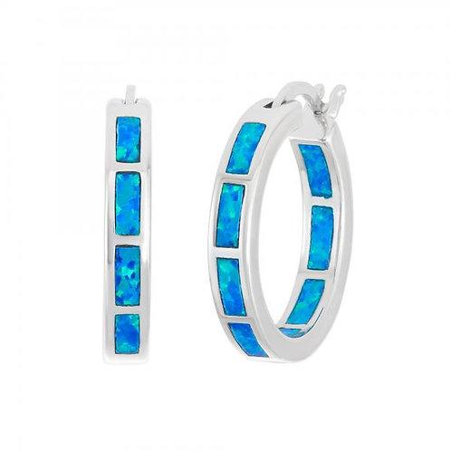 Sterling Silver Blue Inlay Opal Hoop Earrings CSE-D-5879