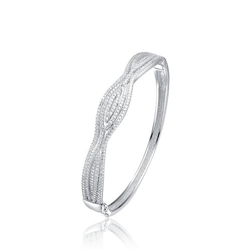 Sterling Silver Cubic Zirconia Bracelet With Hourglass BR9910