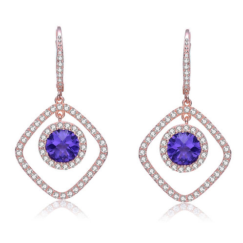 Sterling Silver Rose Toned Amethyst Square Drop Earrings TCE-EAR3323-A-ROSE