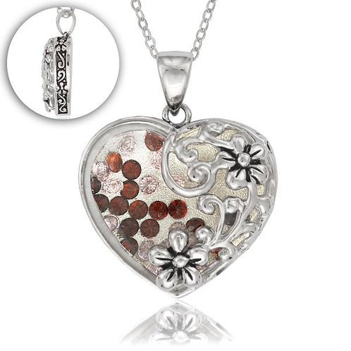 Heart Shaped W/flower Design Pendant CSN-K-7032