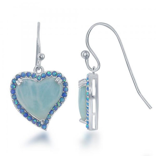 LARIMAR HEART & BLUE OPAl Earrings CSE-D-6349