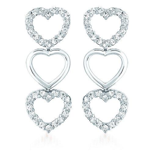 Sterling Silver Rhodium Plated Triple Heart Earrings TCSE-EAR1248-1