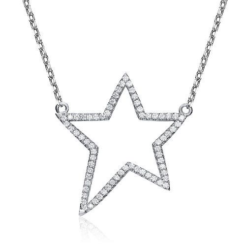 SS Rhodium Plated Star Design Necklace CSN-NEC7079