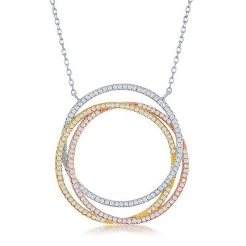 Sterling Silver Tricolor Triple Open Circle Necklace TCSN-M-5512