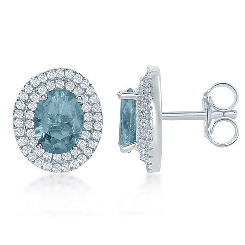 Sterling Silver Oval Simulated Blue Topaz Earrings CL-D-6309