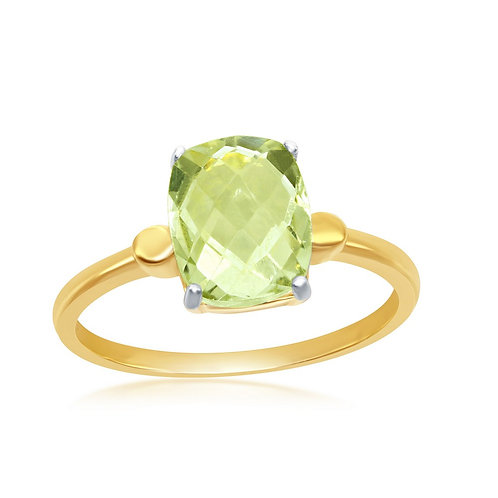 Sterling Silver Gold Plated Checkered 2.452cttw Green Amethyst CR-W-2014