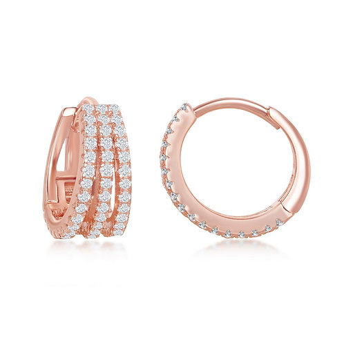 Sterling Silver Rose Gold Plated Triple Row Small Hoop Earrings CL-D-7249-RG