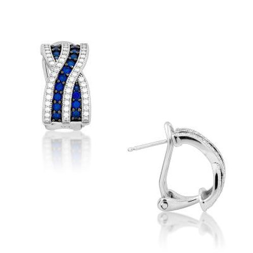 Sterling Silver Criss Cross Sapphire and White Micro Pave Earrings TCE-D-5189