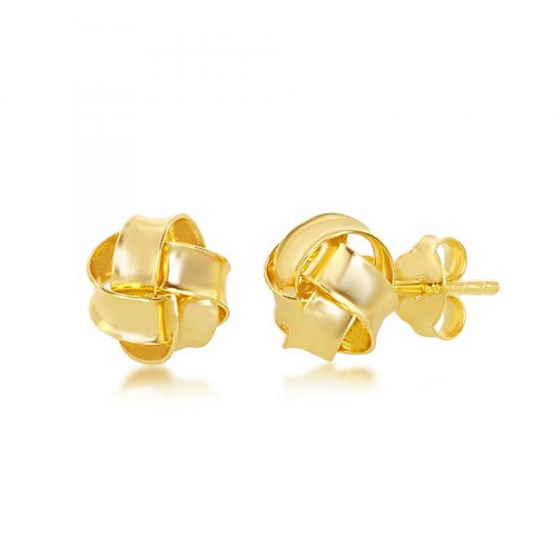 Sterling Silver High Polish Gold Plated Love Knot Stud Earrings CSE-A-2559