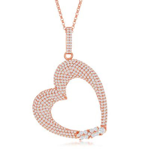 Sterling Silver RG Large Micro Pave Heart Pendant. TCN-K-7908