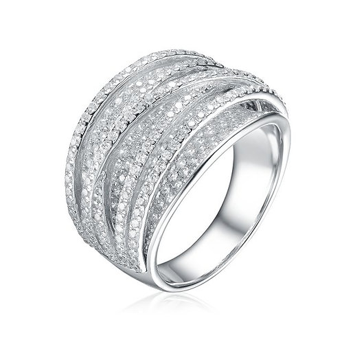 Sterling Silver with Rhodium Plated Pave Crossover Ring TCSR-R9945