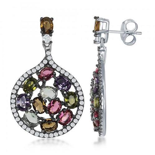 SS MULTI COLOR/ Oval Stone Earrings TCSE-D-6487
