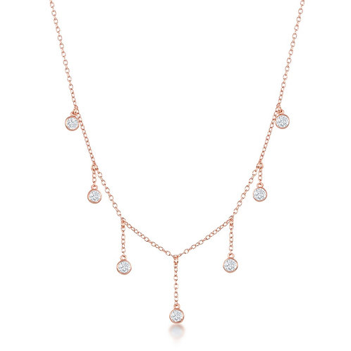 Sterling Silver Rose Gold Plated Dangling Bezel-Set Necklace CSN-M-6086-RG