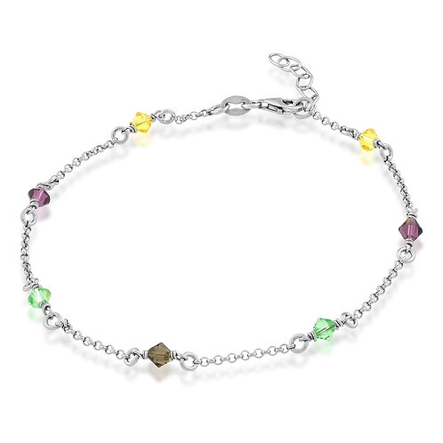 Sterling Silver Multi Colored Crystals Anklet ANK-R-9113