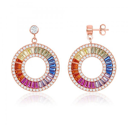 Sterling Rose Gold Plated Rainbow Baguette Open Circle Earrings CSE-D-7001