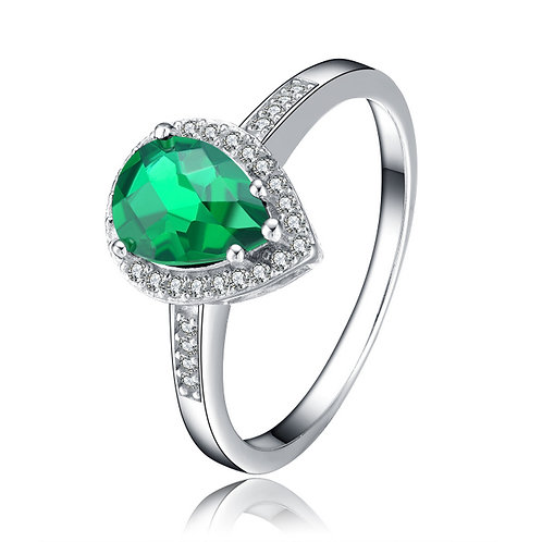 Sterling Silver Emerald Colored Pear Shaped Ring TCR-R3880