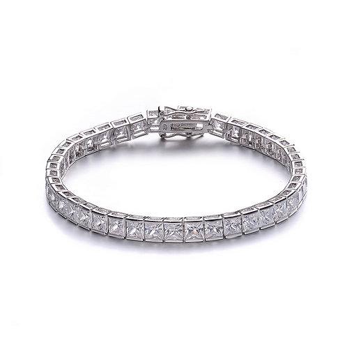 Sterling Silver / Platinum Plated Princess-cut Tennis Bracelet TCB-BR1905-2.5
