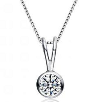 Sterling Silver Bezel Set Circle Solitaire Necklace TCN-PEN500-11MM