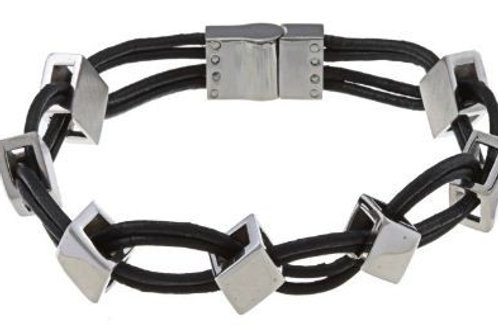 Stainless Steel Leather and Diamond Shaped Links Bracelet CL-ST-1441