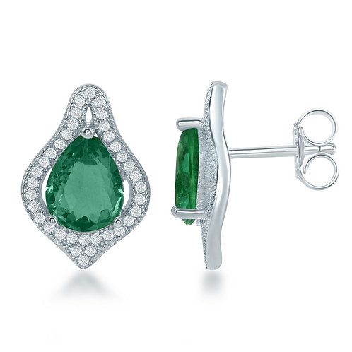 Sterling Silver Large Teardrop Simulated Emerald Earring CL-D-6314