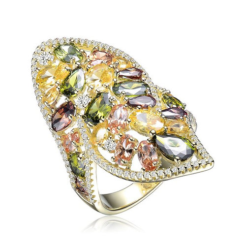 SS with Gold Plated Multi Colored/Multi Shaped Stone Ring CSR-R9940-MC-GP