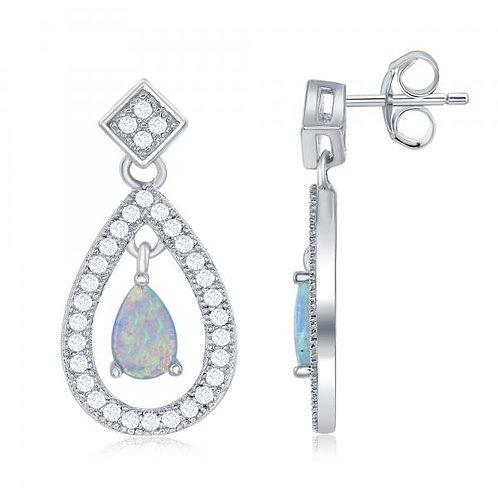 Sterling Silver Open Teardrop with Center Opal Earrings TCSE-D-6539