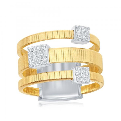 SS Italian Designed Yellow Toned Ring CSR-W-2021