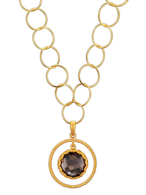 Smokey Topaz Sterling/Gold Plated Necklace CSN-GN4380-SQ