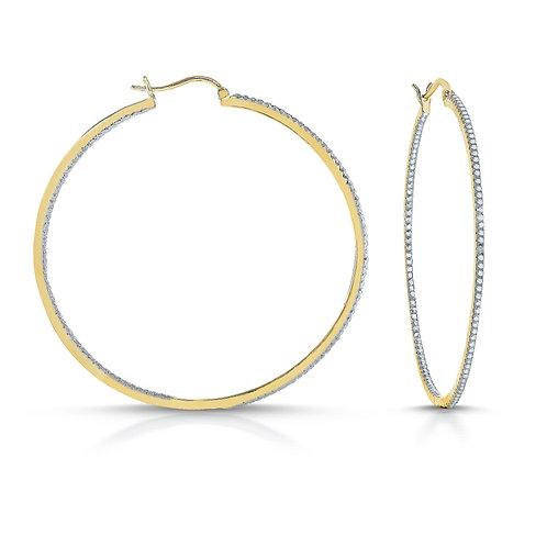 Sterling Silver Gold Toned Hoop Earrings 2mm TCSE-DEAR9003-TT