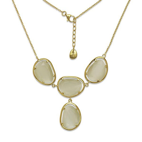 STERLING SILVER GP YELLOW CAT EYE NECKLACE M-5298