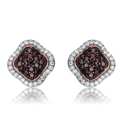 Sterling Silver Black Pave Set Stone Earrings CSE-EAR2407