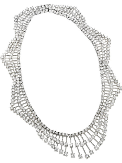 C.Z. Sterling Silver Rhodium Plated Heavy Necklace NEC854