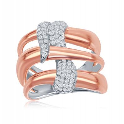 Sterling Two-Tone Triple Wave Design Intertwined Micro Pave Ring CSR-W-1869