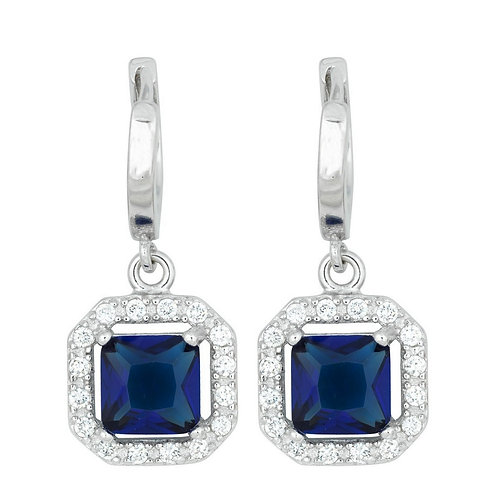 Sterling Silver Square Dangling Dark Blue Micro Pave Earrings CL-D-5246
