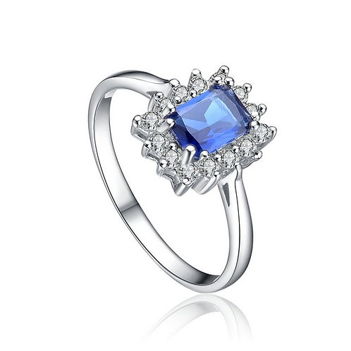 Sterling Silver with Rhodium Plated Sapphire Style Ring  CL-R2667-S