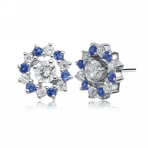 Sapphire & White Stone Star Style Stud Earrings TCE-EAR152-JS