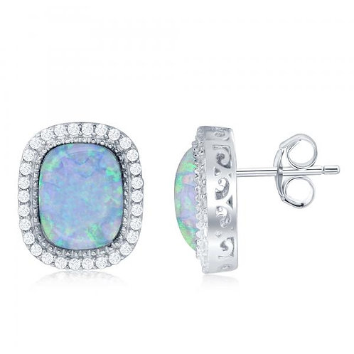 Sterling Silver Square White Opal with Halo Style Border Earrings CE-D-6557